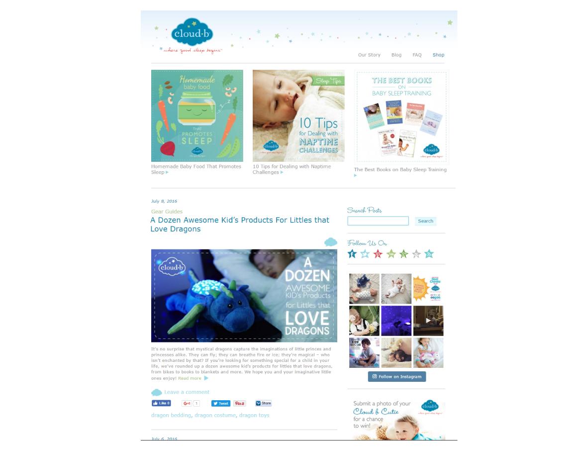 A Screen shot of Cloud B Blog
