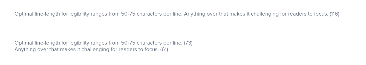 Characters per line example