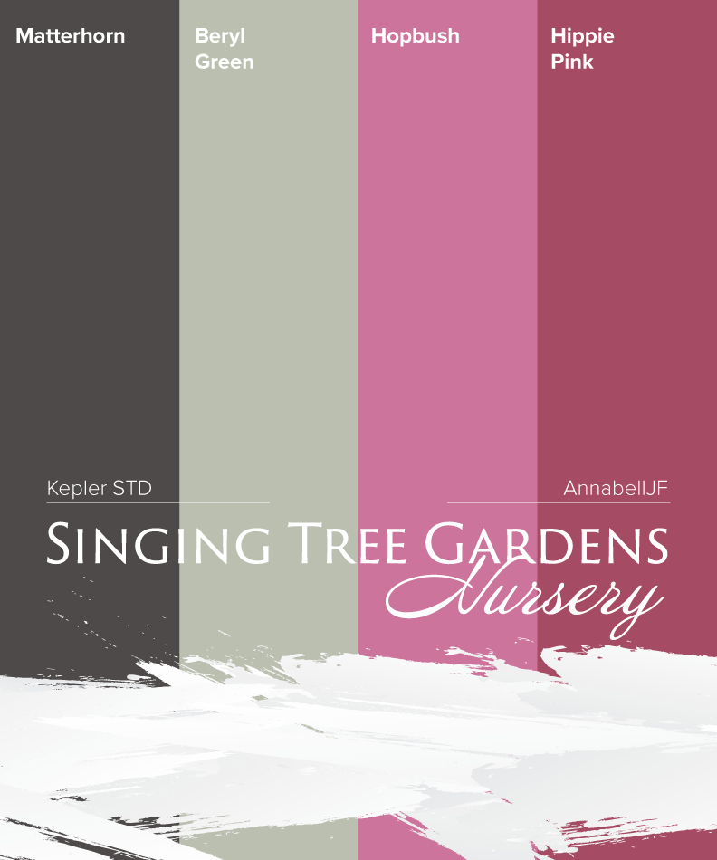 Image displaying the color pallet used on Singing Tree Gardens