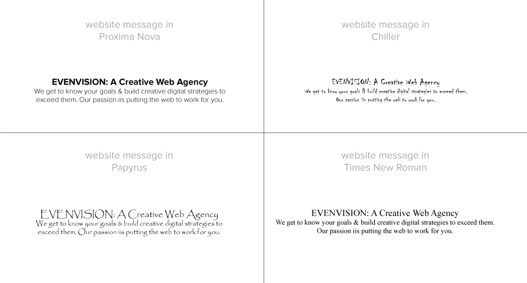 example of EvenVisions call to action with two different typefaces