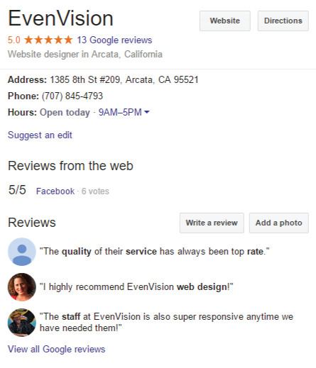 screenshot of google's display for EvenVision in search based on Citations