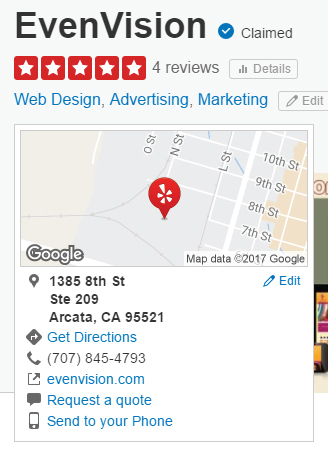 screenshot of Yelp's Citations for EvenVision