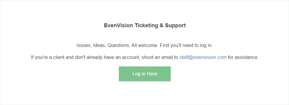 Screenshot from clients.evenvision landing page