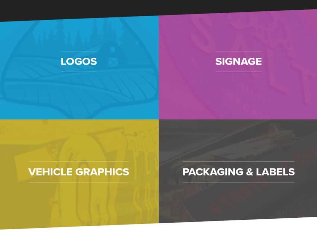 Screenshot from Visual Concepts website demonstrating the four parts of the business
