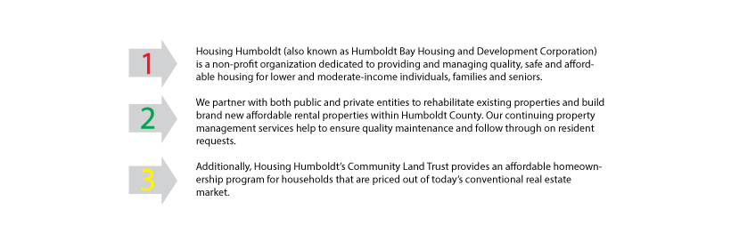 Screenshot of original content as laid out on Housing Humboldt Original homepage