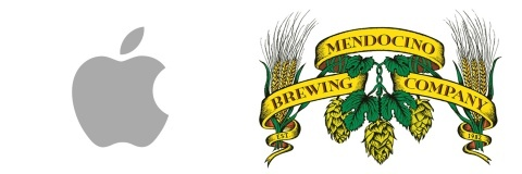Picture of Apple's logo next to Mendocino Brewing Company's Logo