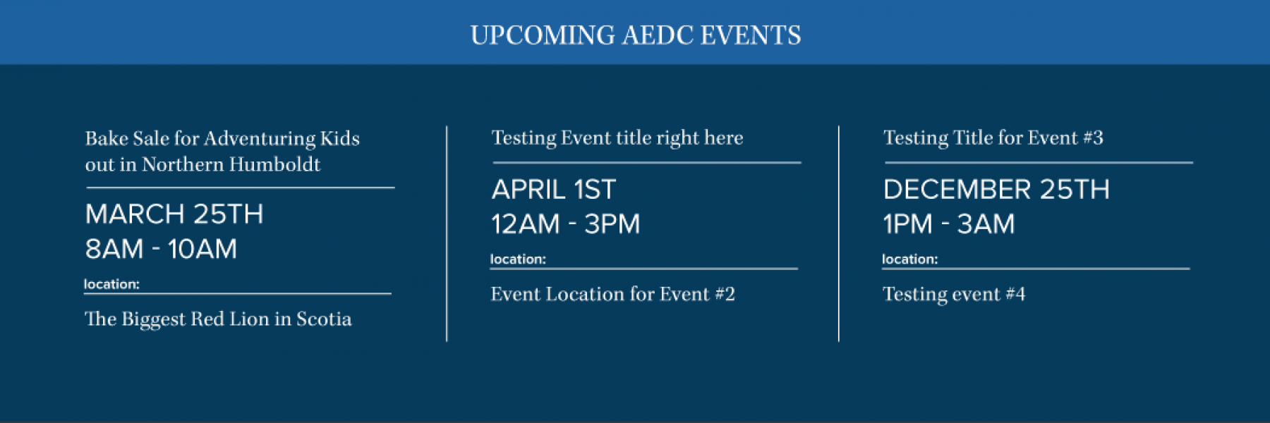 Draft #4 of AEDC's website homepage that features the event's display