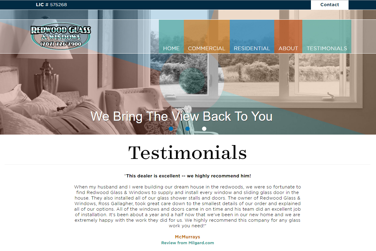 Screenshot of testimonials on Redwood Glass and Windows