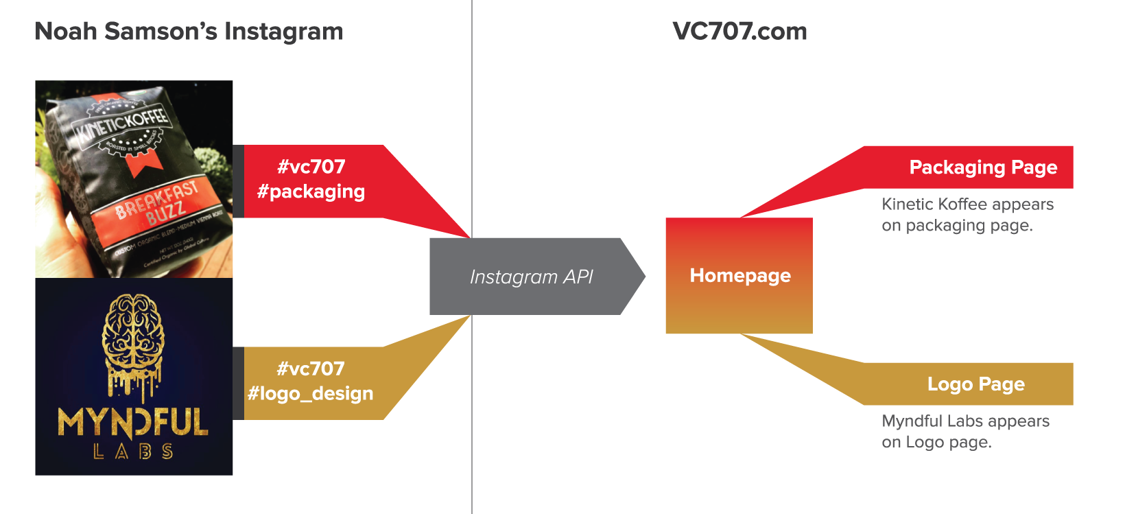Graphic showing how Instagram's API bridges the Gap between the websites